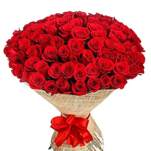 Captivating Hundred Red Roses Bouquet