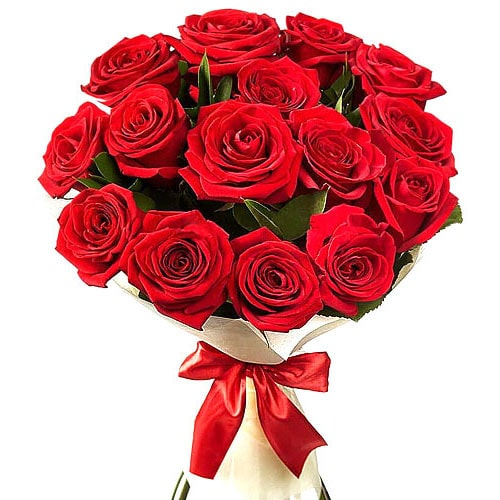 Lovely 12 Red Roses Bunch with Heartful of Wishes To