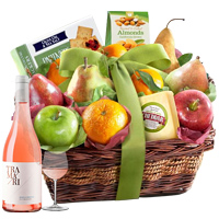 Deluxe Rose Wine, Fresh Fruits N Cheese Gift Basket To