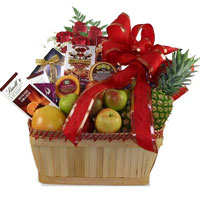Lovely Rose and Fruits with Cheese Gift Basket To