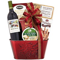 Cute Jovial Basket of Wine and Treats