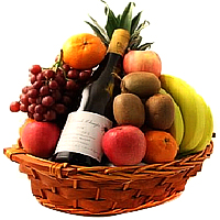 Sparkling Basket of Sparkling Apple Juice and Fruits To