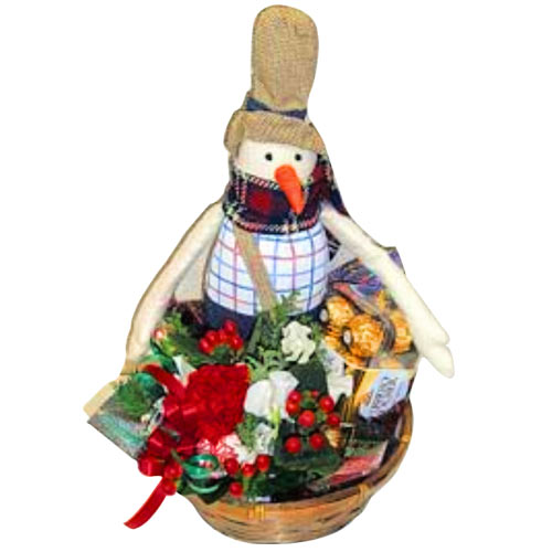 Delightful Snowman Gift Basket with Flowers N Chocolate To