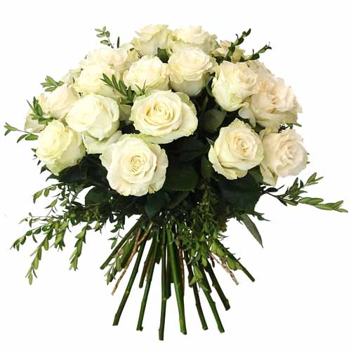 Dazzling Heart of Love 24 Pure White Roses To
