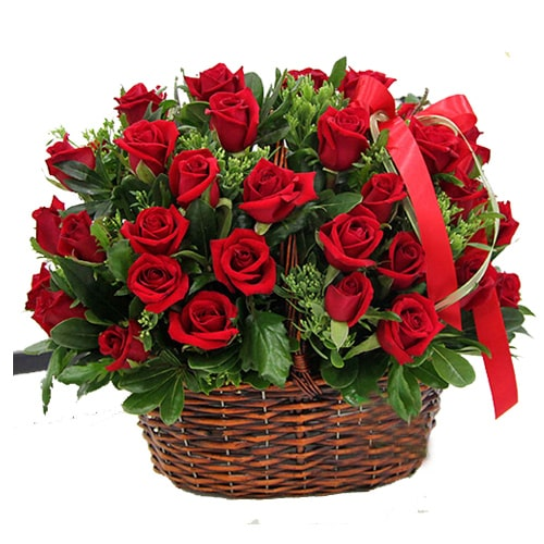 Clustered Blooming Happiness 50 Red Roses in a Basket To