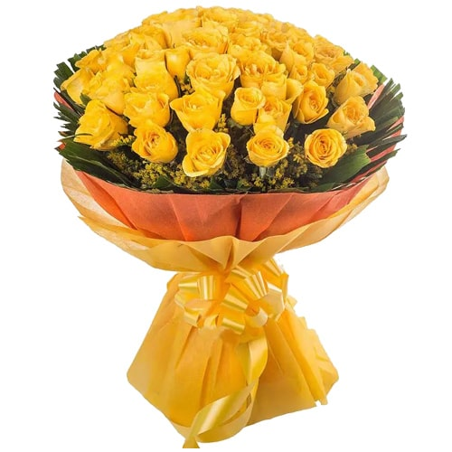 Charming Fifty Bright Yellow Roses Bouquet
