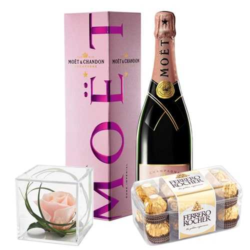 Exotic MOET Gift Box with Pink Rose