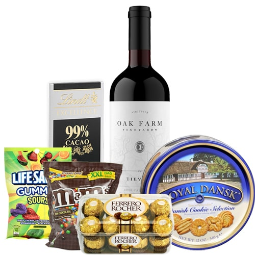 Elegant Box of Wine and Sweets