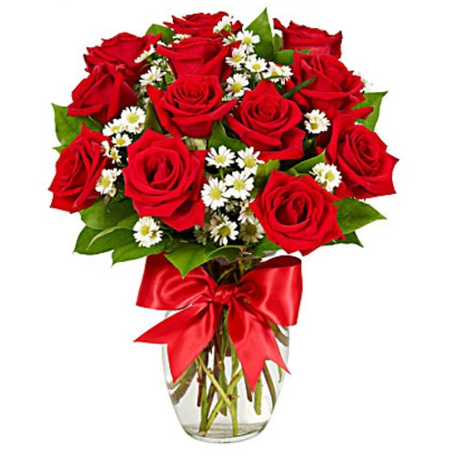 Charming Beauty of Nature 12 Red Roses in a Vase To