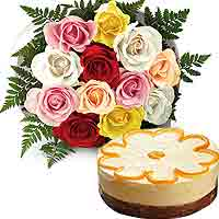Striking Pure Desire 12 Mix Roses Round Bouquet with Orange Chocolate Cake To