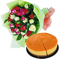 Flowers Bouquet with Bake Cheese Cake To