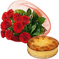Rose Bouquet with Baked Cheese Cake To