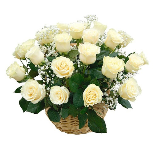 Attention-Getting Fifty Fresh White Roses in a Basket