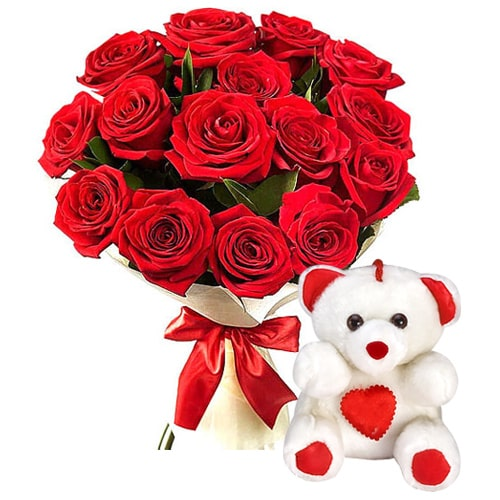 Eye-Catching Twelve Gaudy Red Roses, with an Adorable Teddy Bear