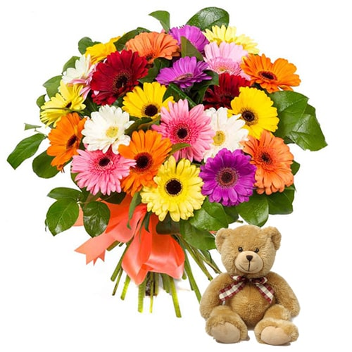Lovely Gerberas with Teddy Bear To