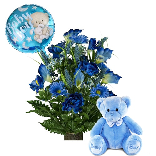 Awe-Inspiring Hamper of Fresh Flowers, Adorable Teddy and Cheerful Balloon To