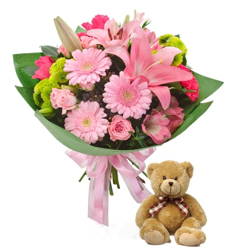 Beautiful Mix Seasonal Flowers with Teddy