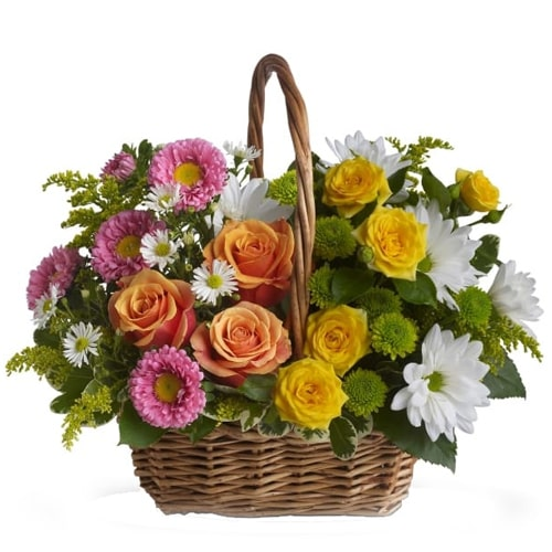 Breathtaking Oblong Mix Basket of Colorful Seasonal Flowers To