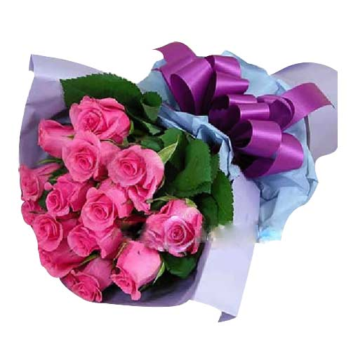 Exquisite Love with Care Bouquet of 12 Pink Roses To