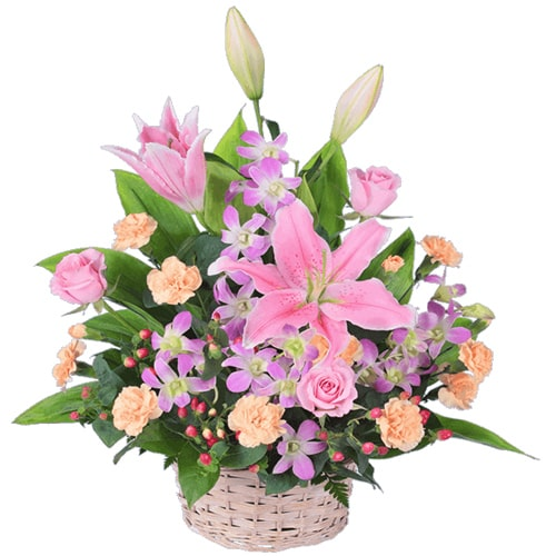 Heavenly Basket of Seasonal Flowers