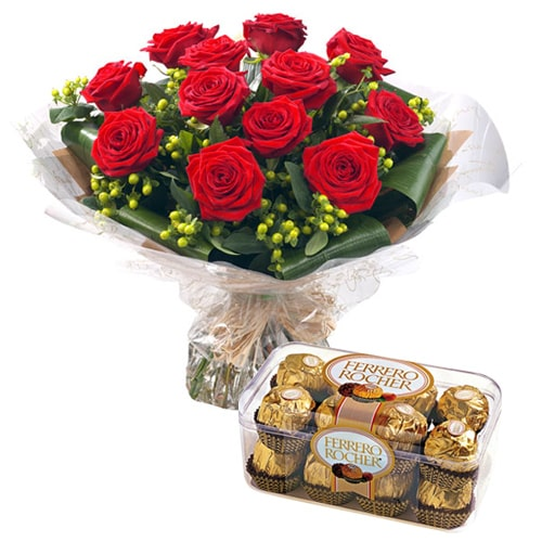 Fragrant Flowers and Chocolate Gift for Sweet Sensation To
