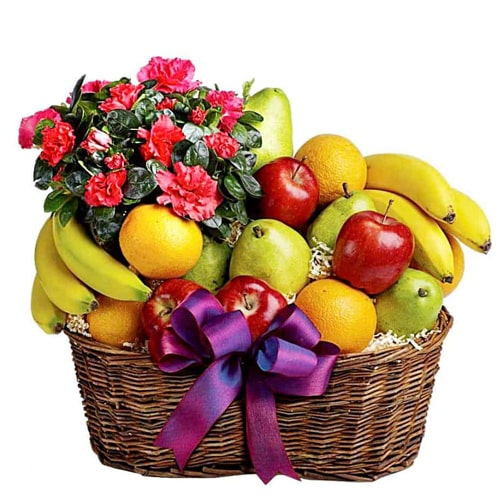 Wholesome Mixed Fruits and Fresh Flowers Basket with Love To