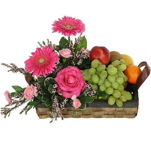 Delectable Seasons Greetings Seasonal Flowers and Fresh Fruits Basket