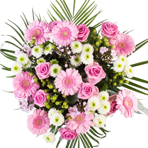 Exotic Pink Fresh Seasonal Flowers with Heartful of Wishes