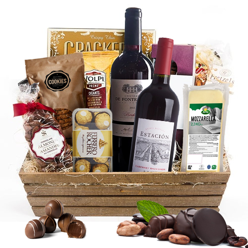 Charming Assorted Hamper Basket with Wine To