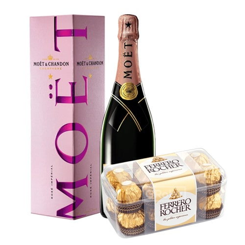 Delightful Moet Chandon Champagne (0.75 Lt.) and Chocolates Filled with Happiness To