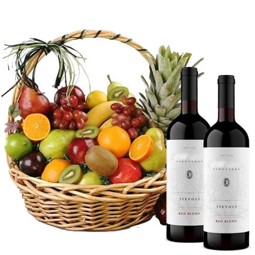 Delectable Mixed Fruits and 2 Bottles of French Wine Filled with Happiness To