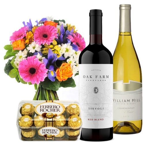 Artistic Flowers and Chocolates and French Wine Hamper To