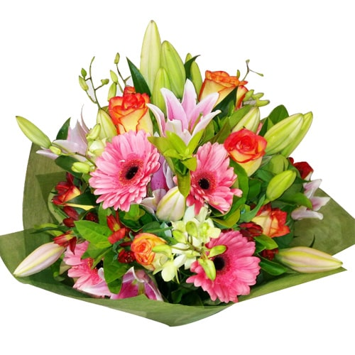 Pretty Mixed Colored Bouquet with Striking Affections