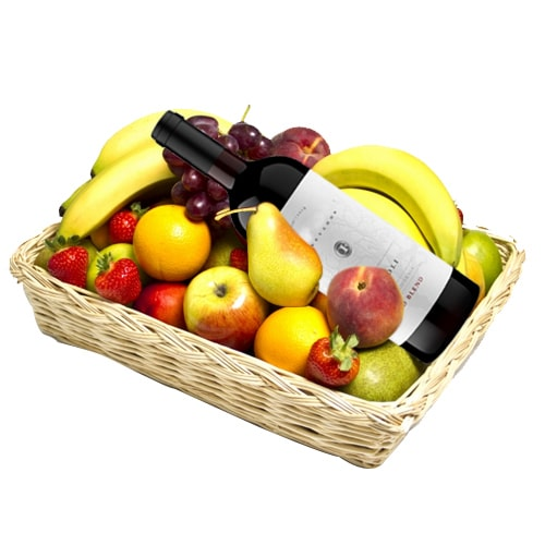 Luxurious French Red Wine and Mixed Fruits Hamper for Holiday Enjoyment To