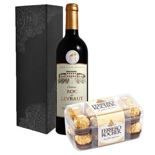 Classic French Wine and Ferrero Rocher Chocolates 16 Pcs To Ibaraki