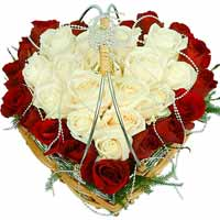 Divine Special Moments 30 White and Red Roses Heart Shaped Arrangement To Miyazaki