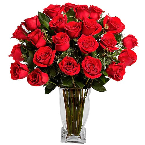 Eye-Catching 24 Red Roses in a Vase for Sweet Surprise