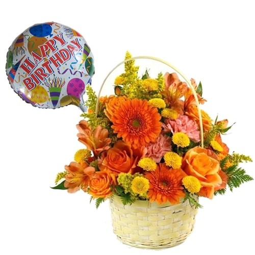 Exquisite Fresh Love Delight Mixed Flowers with a Cheerful Balloon in a Basket To