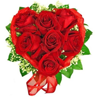 Eye-Catching Bloom in My Heart 12 Heart Shaped Red Roses Arrangement To