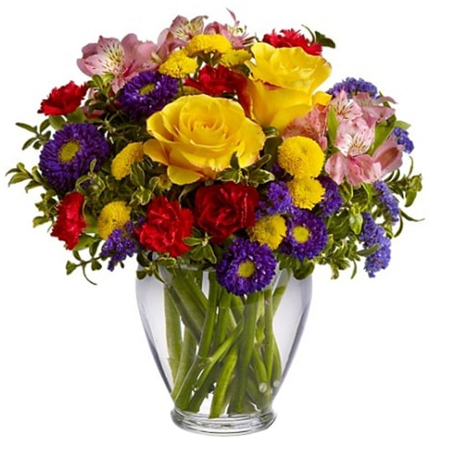 Artistic Mixed Flowers Festooned in a Vase