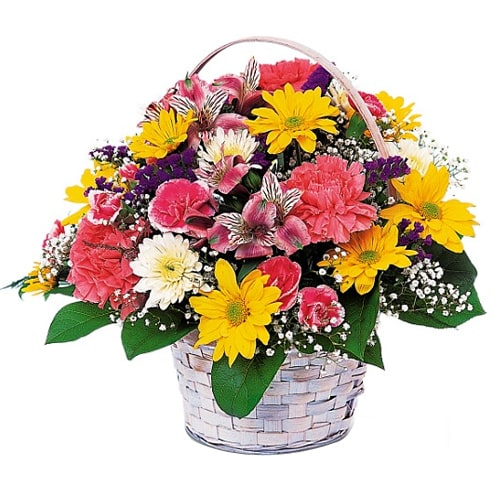 Elegant Basket of Colorful Fresh Flowers To