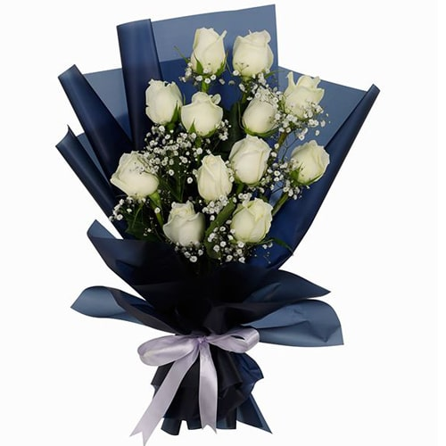 Sensational Cheerful Wishes 12 White Roses