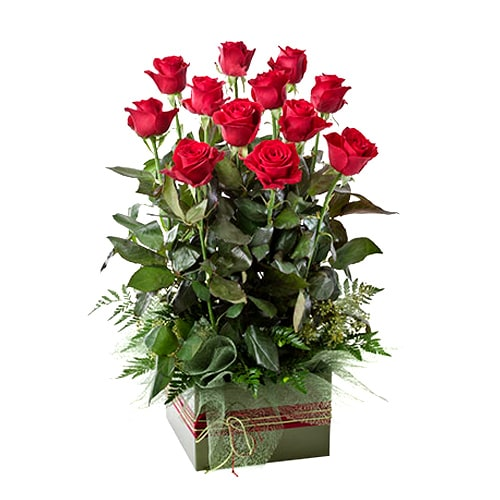 Classic Arrangement of Twelve Red Roses To