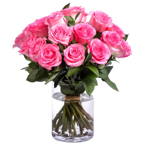 Luxurious True Love 18 Pink Roses Bouquet in a Vase To