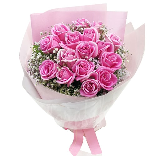 Extravagant Authentic Love 18 Pink Roses Arrangement To
