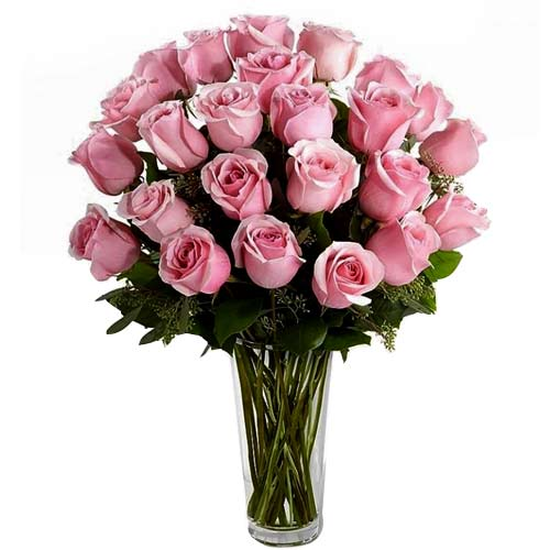 Stunning Wishing You Happiness 24 Pink Roses in a Vase