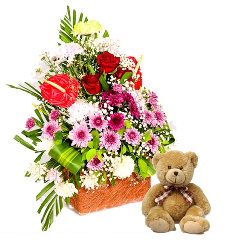 Fragrant and Styled Seasonal Flowers and Teddy