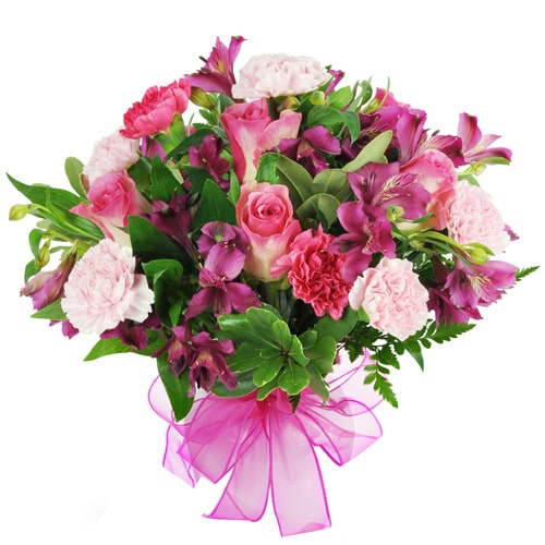 Aromatic Natural Wonders Bouquet of Pink Seasonal Flowers To Fukuoka