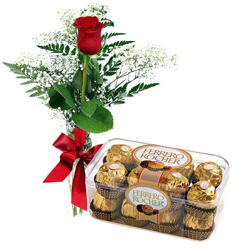 Exquisite Loving Surprise Red Rose with 16 pcs Ferrero Rocher Chocolates