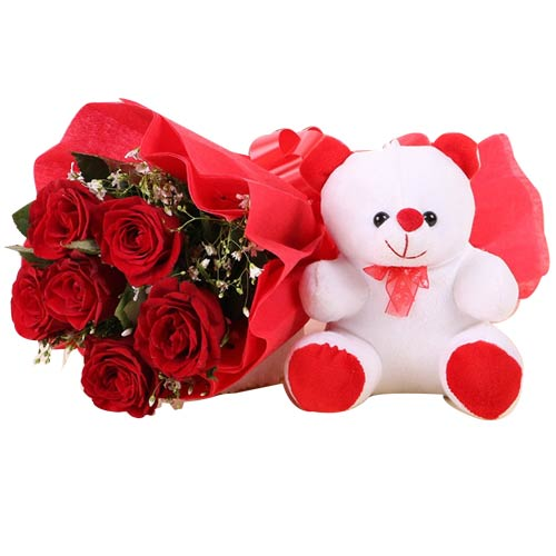 Extravagant 6 Red Roses with Teddy Bear on the Eve of Special Occasion To Fujiyoshida
